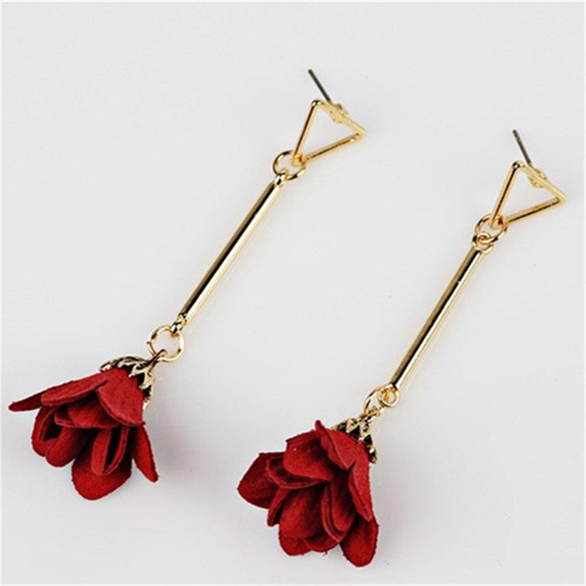 Fashion Graceful Lovely Long Mini Cloth Flower Pendant Design Stud Earrings for Women Girls