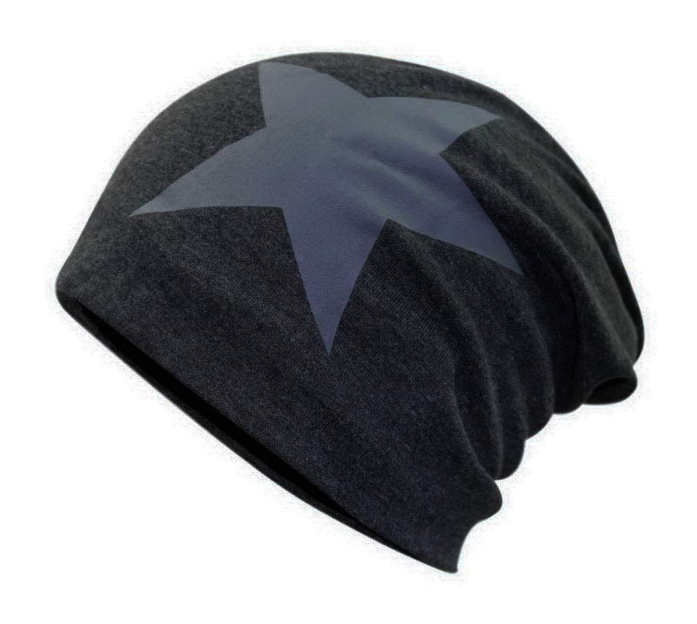 Men's Winter Slouchy Hat Plus Velvet Warm Hat Knit Cap Pentagram Style Dark Gray GM-CLO2475004011-ZARA02479