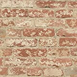 RoomMates RMK9035WP Stuccoed Red Brick Peel and Stick Wallpaper Décor