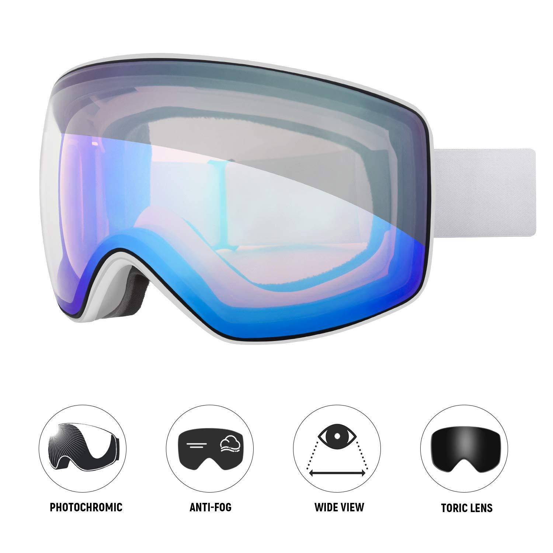4265ea0d0fd Amazon.com   Unigear Skido X3 Photochromic Ski   Snowboard Goggles ...