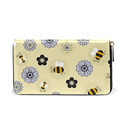 Amazon.com: Monedero de piel para mujer, diseño de abeja de ...