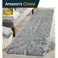 Furry Fluffy Fuzzy Soft Solid Faux Fur Sheepskin Lambskin Sheep Hide Animal Skin Floor Hallway Long Runner Rug Long Runner Carpet Area Rug Indoor Black White 2x7 ( Fur Shaggy Black White )