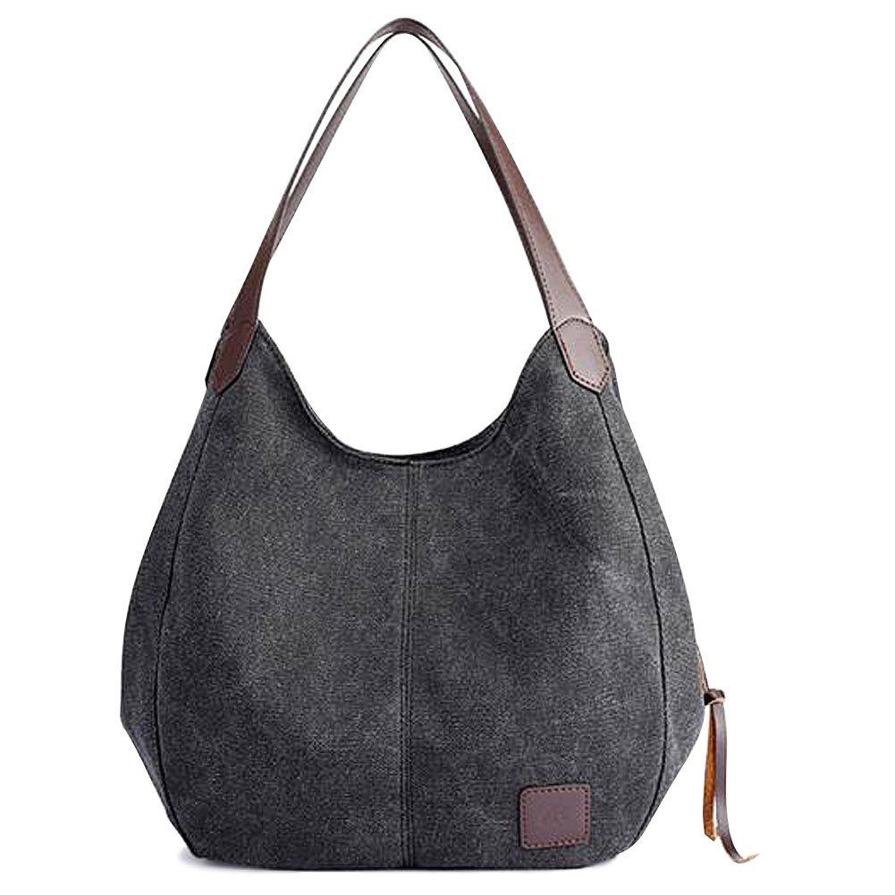 Multi-pocket Shoulder Bag Canvas Cotton Casual Shoulder Bag for Women