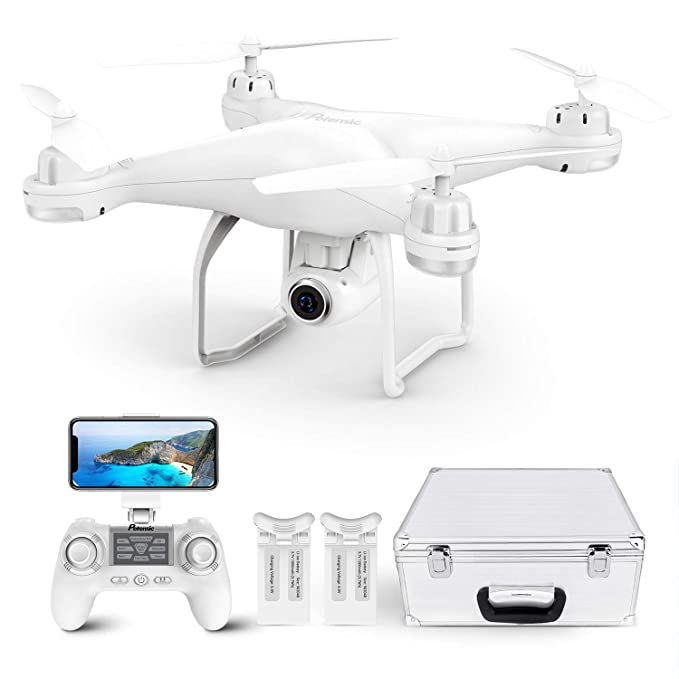 Potensic T25 GPS Drone, FPV RC Drone with Camera 1080P HD WiFi Live Video, Auto Return Home, Altitude Hold, Follow Me, 2 Batteries and Carrying Case best drones