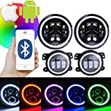 halo lights cars - Omotor Pair 7 Inch RGB Halo Cree LED Round Multi Color Headlights + Pair 4 Inch RGB Halo Cree LED Fog Lights for Jeep Wrangler JK TJ Cell Phone APP Bluetooth Remote Control