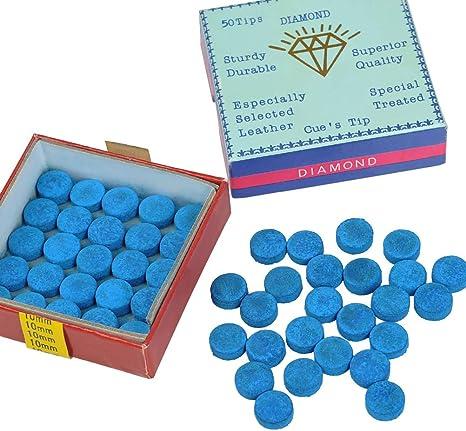 YOTINO 50Pcs Azul Billar Tiza Estándar Snooker Cue Tips Puntas de Repuesto de Billar con Almacenamiento de Plástico Caja para Punteras de Taco para Billar: Amazon.es: Deportes y aire libre