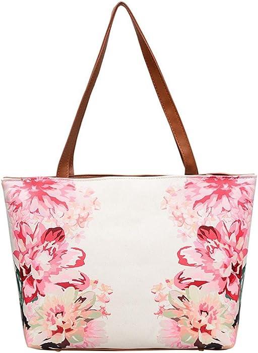 9f2b06580f3a Sunyastor Women s Vintage Style Leather Flower Painting Bag Large Tote Bag  Shoulder Bag Handbag Purses Satchel