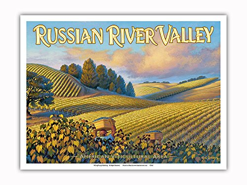 Pacifica Island Art Russian River Valley Wineries - Along Westside Road - North Coast AVA Vineyards - California Wine Country Art by Kerne Erickson - Master Art Print - 9in x 12in