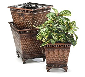 set of 3 decorative metal planters with diamond design and claw feet beautiful home decor - Decorative Planters