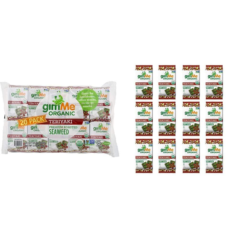 gimMe Snacks - Organic Roasted Seaweed - Teriyaki - (.17oz) - (Pack of 20) - non GMO, Gluten Free & Organic Roasted Seaweed - Teriyaki - (.17oz) - (Pack of 12)