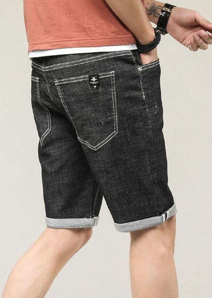 Fensajomon Mens Summer Mid Rise Stretchy Straight Leg Denim Shorts Jeans Trousers