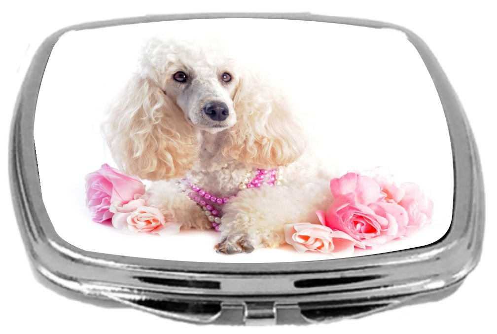 Rikki Knight Compact Mirror, Poodles and Flowers