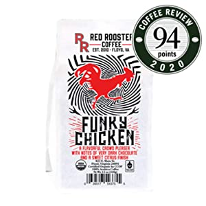 "Red Rooster Coffee Roaster ""Funky Chicken"" Medium Roasted Fair Trade Organic Whole Bean Coffee - 12 Ounce Bag"