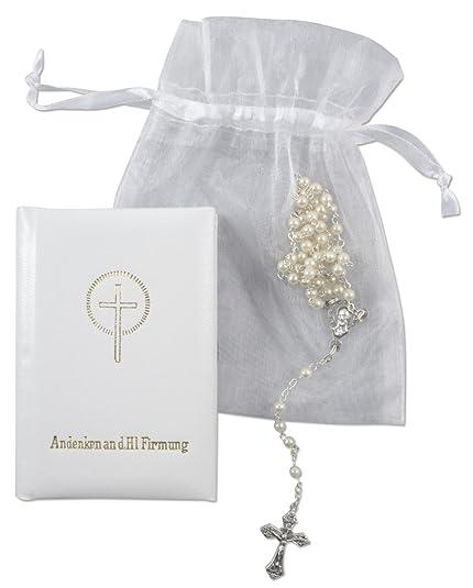 Set de regalo para la Confirmación Rosario y libro de oraciones blanco 15,5 x