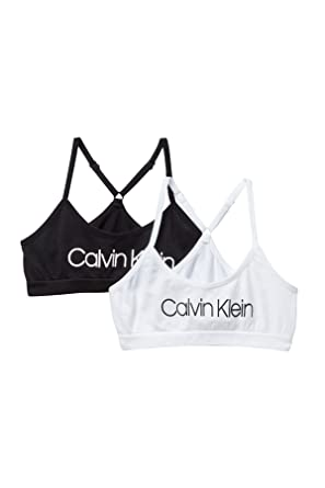 c32f3634104 Amazon.com: Calvin Klein Big Girls' Seamless Racerback Crop Bra (Pack of  2): Clothing