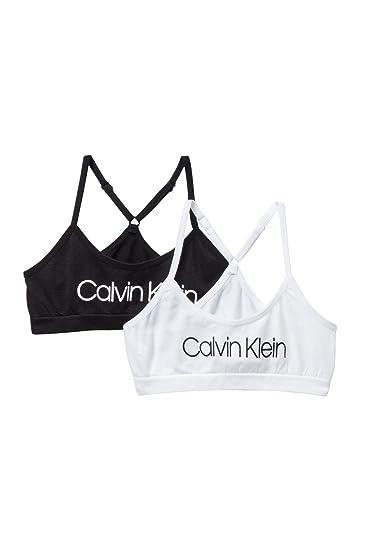 775143b2d09 Calvin Klein Big Girls' Seamless Racerback Crop Bra (Pack of 2): Amazon.co. uk: Clothing