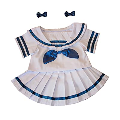 """Sailor Girl w/Bows Dress Outfit Teddy Bear Clothes Fits Most 14"""" - 18"""" Build-A-Bear and Make Your Own Stuffed Animals: Toys & Games"""
