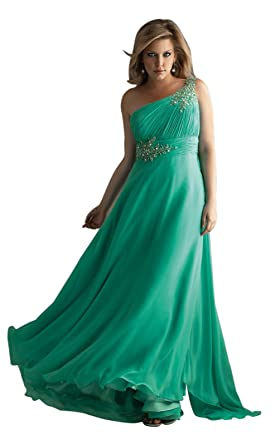 Cheap long prom dresses chiffon green evening dresses one shoulder plus size night gowns (UK14