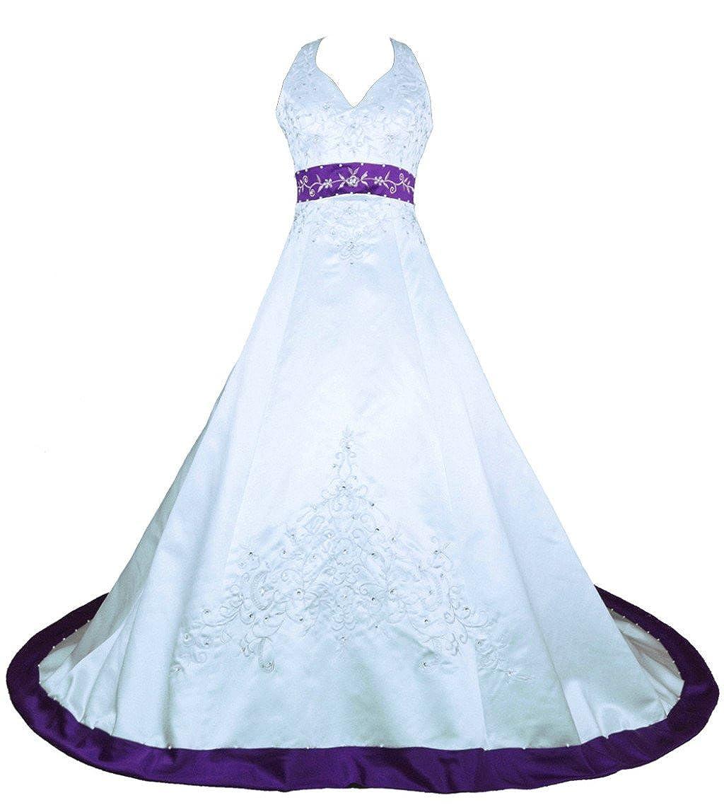 Vantexi Women's Embroidery Satin Halter Wedding Dress Bridal Gown CWX8818