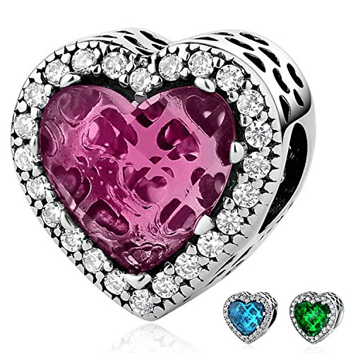 Ronglai Jewelry Sterling Silver Love Heart Bead Charms Red Blue Green Crystal Birthstone Charm fit Snake Chain Bracelets (Red crystal charm) by Ronglai Jewelry