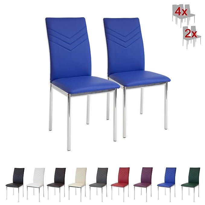 139 opinioni per Albatros 2929 VERONA Set di 2 sedie da pranzo, blu, piede cromato, SGS tested