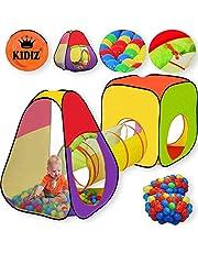 KIDIZ® Spielzelt Spielhaus Babyzelt 200 Bälle Bällebad Kinderzelt | Ideal für Zuhause & im Garten | Tasche | Tunnel, 2 verschiedene Größen