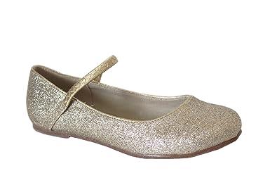 dotty Styleluxe Girls Maryjane Ballet Flats Allover Gold Small Glitter 1