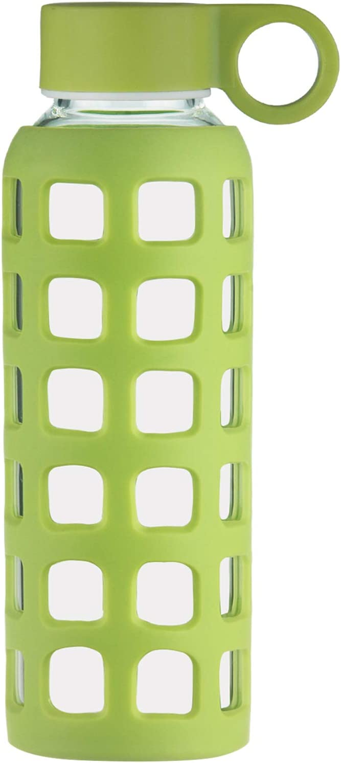 ORIGIN Best BPA-Free Borosilicate Glass Water Bottle With Protective Square Window Silicone Sleeve and Leak Proof Lid - Dishwasher Safe (Lime Green, 22 Oz)