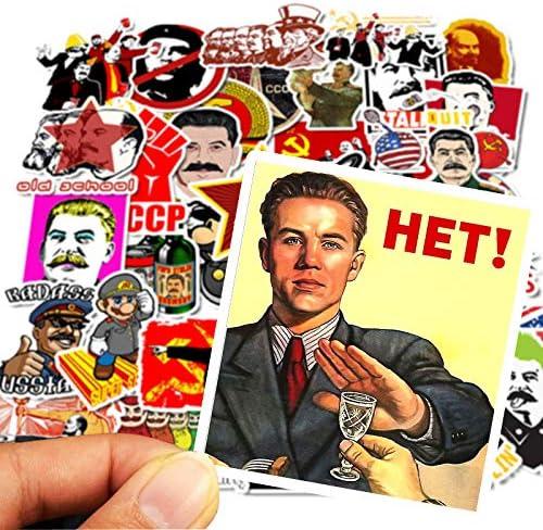 JIAQI Pegatinas de monopatín Pegatinas 50 Rusia II Guerra Mundial Maleta de Viaje Monopatín de Coche Pegatina de Viaje de Dibujos Animados Aventura