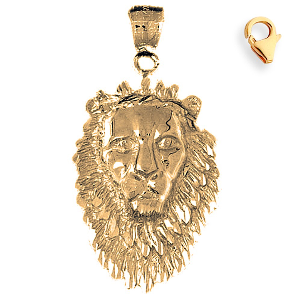 43mm Silver Yellow Plated Lion Head Charm