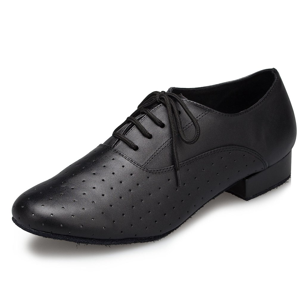 CRC Men's Stylish Round Toe Lace up Black Leather Salsa Tango Ballroom Morden Latin Jazz Rumba Professional Dance Shoes 11 M US