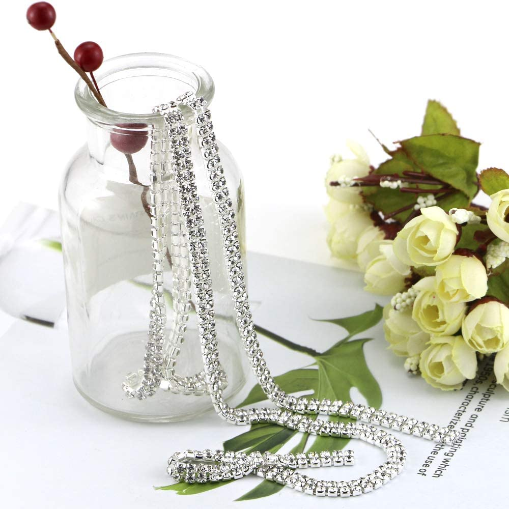 Twdrer Silver Clear Crystal Rhinestone Trim Applique Close Chain 2 Yard 2 Rows for Crafts,DIY,Clothes,Wedding,Party Decoration