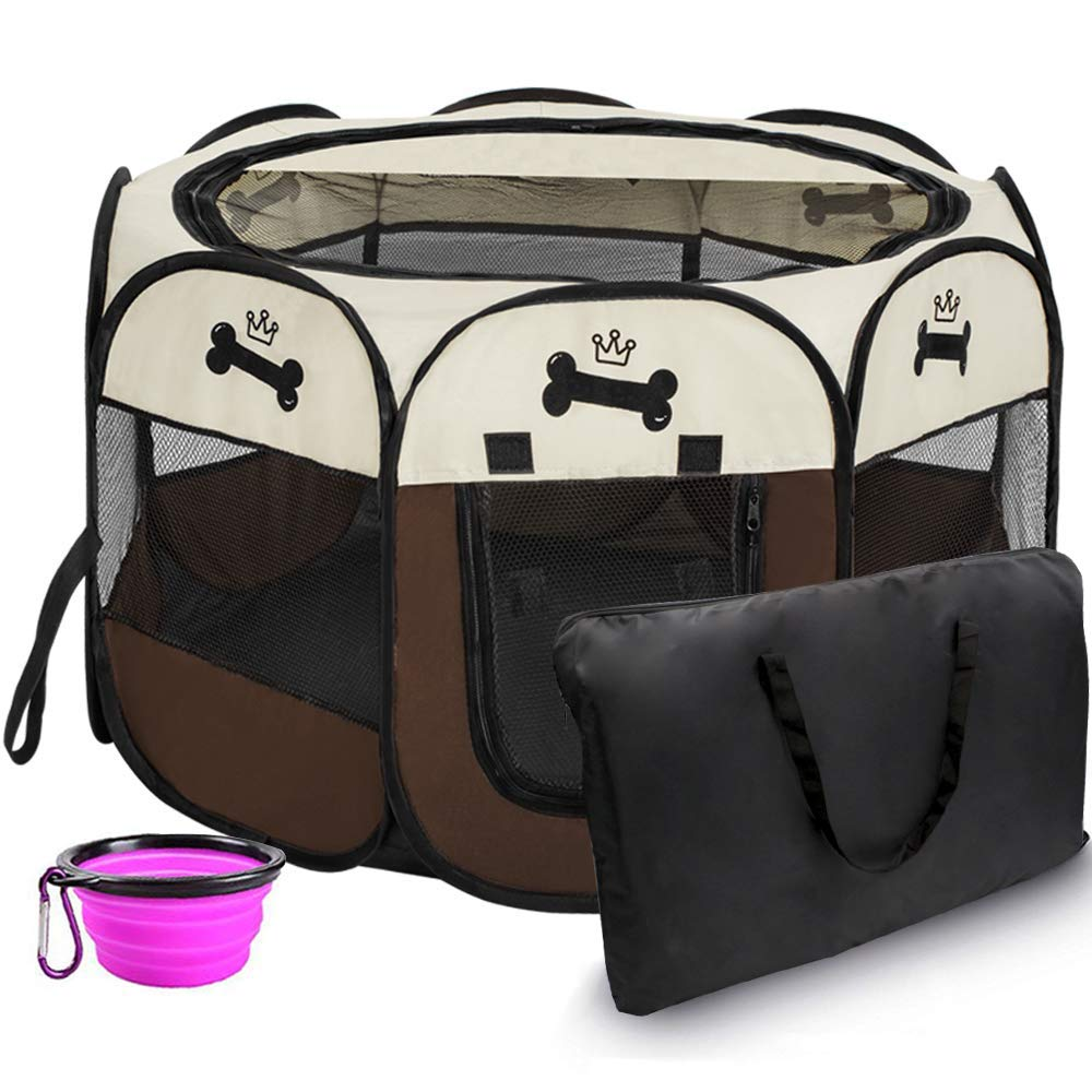 Hepeng Pet Playpen Tent Kennel and Carrying Case Collapsible Travel Bowl Indoor and Outdoor Use with Water Resistant and Removable Shade Cover for Dog Cat Rabbit Portable Puppy Playpen