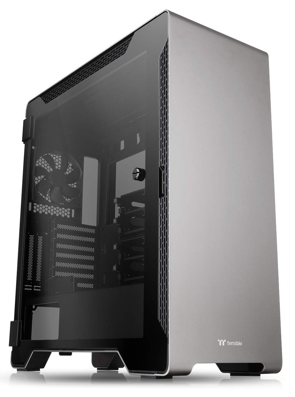 Thermaltake A500 Aluminum Tempered Glass ATX Mid Tower Gaming Computer Case with 3 Fans Pre-Installed CA-1L3-00M9WN-00, A500 Mid Tower, Gray