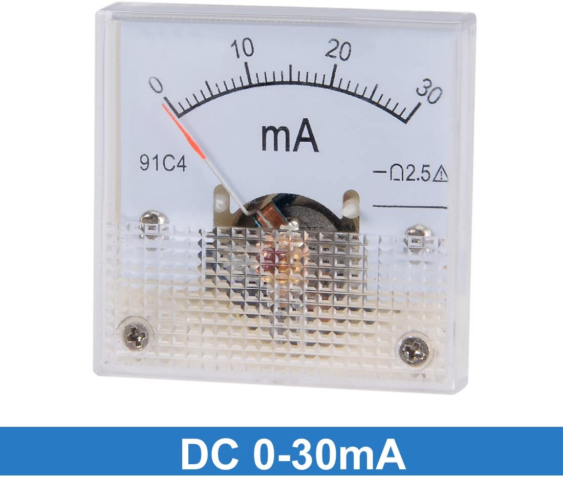 uxcell Analog Current Panel Meter DC 0-30mA 91C4 Ammeter for Automotive Circuit Testing Charging Battery Ampere Tester Gauge Pack of 1