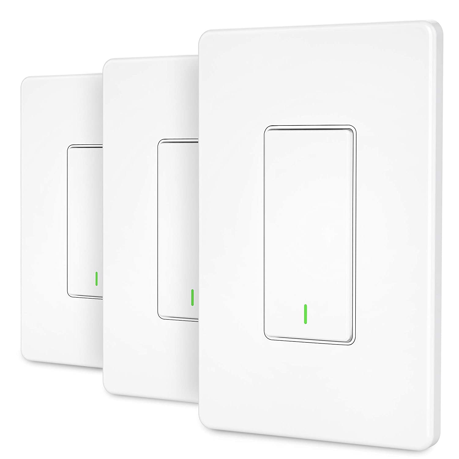 Smart Switch [3 Pack] GRDE WiFi Smart Light Switch Works with Alexa and Google Assistant, Remote Control, Easy In-Wall Installation, Single Pole Neutral Wire Required, Light Switch with Schedule Timer