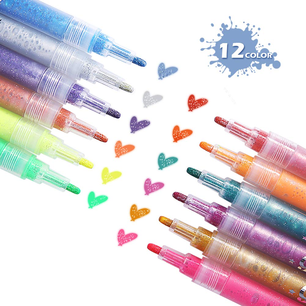 Rotuladores para Pizarra, ARINO Pintar Rotuladores, Marcadores de tiza Uso en el Día de los Reyes Magos, Ideal para el Hogar, Escuela u Oficina, paquete de 12 colores