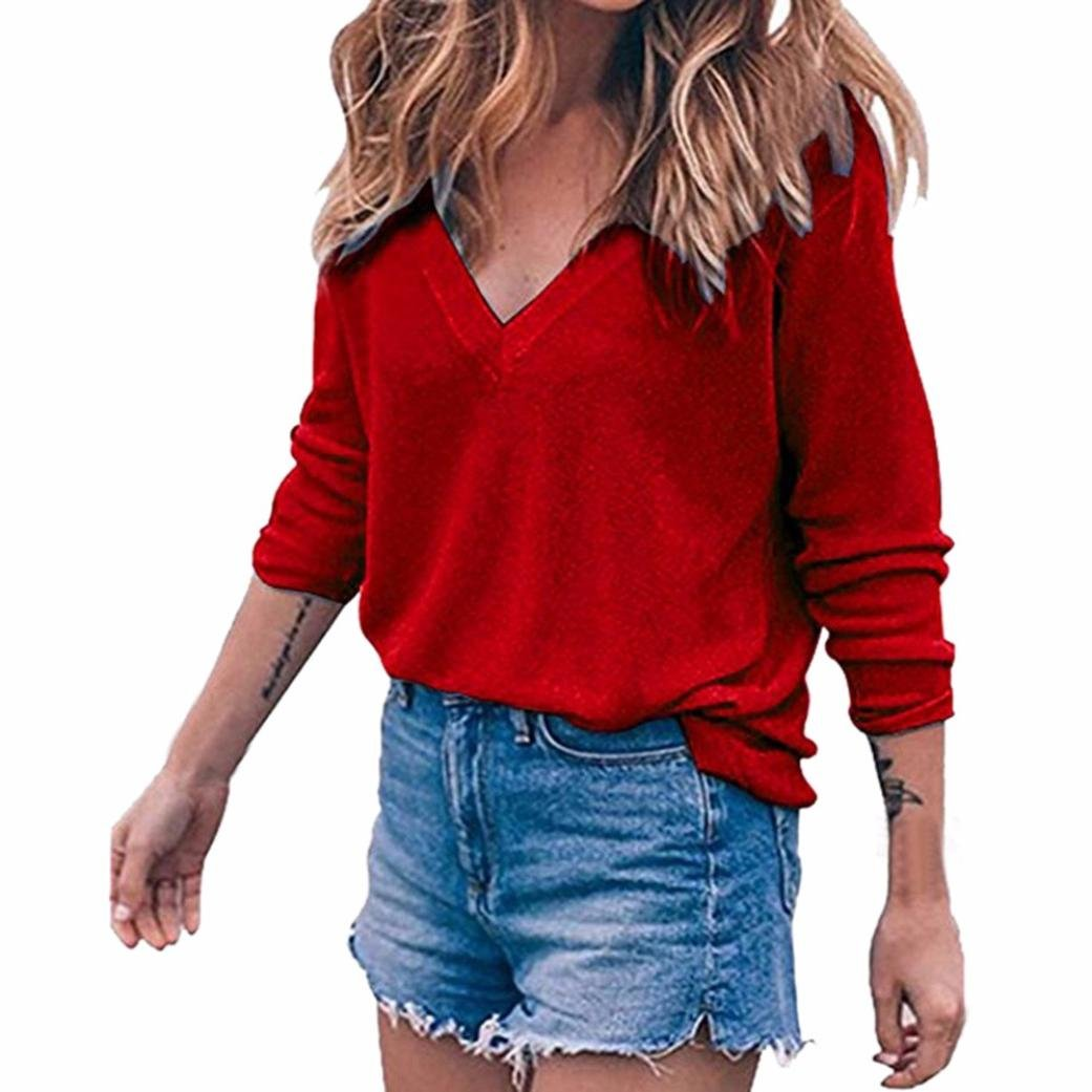 KaiCran Women Casual Fashion Long Sleeve V Neck Loose Sweater Blouse Tops Shirt