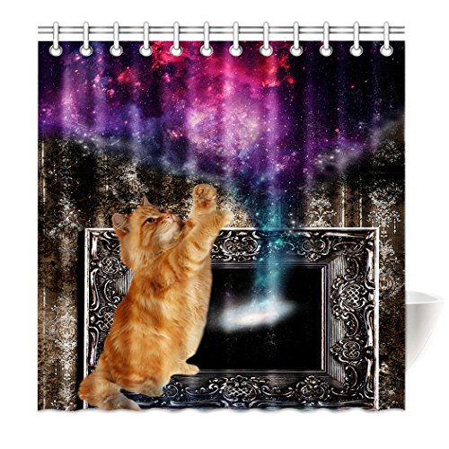 Shower Curtain Brown Wallpaper Funny Cat Play With Galaxy Waterproof Polyester Bath Curtain 72