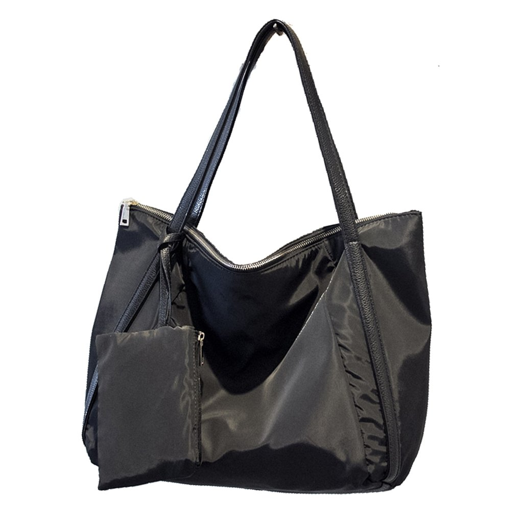 Women Oxford Nylon Shoulder Bag Large Travel Shopper Tote Bag Casual Handbag Carry All Shopping Bag Hobo Style with Small Purse