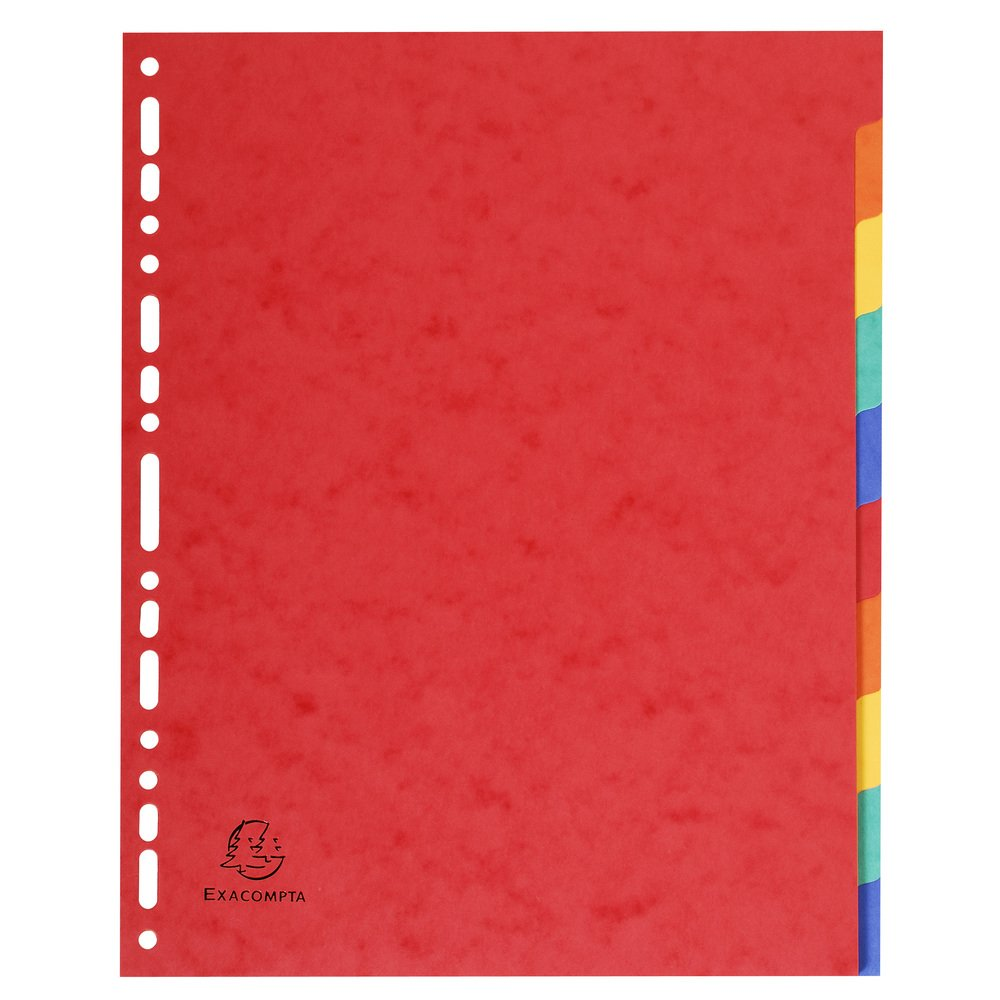 Exacompta 99H Register 1 St/ück Packung mit 12 farbigen Taben, Blanco, DIN A4, Manila-Karton