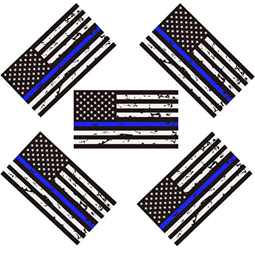 5 Pack New Reflective Tattered Thin Blue Line US Flag Decal Stickers for Cars & Trucks, 5 x 2.7 inch American USA Flag Decal Sticker Honoring Police Law Enforcement Vinyl Window Bumper Tape