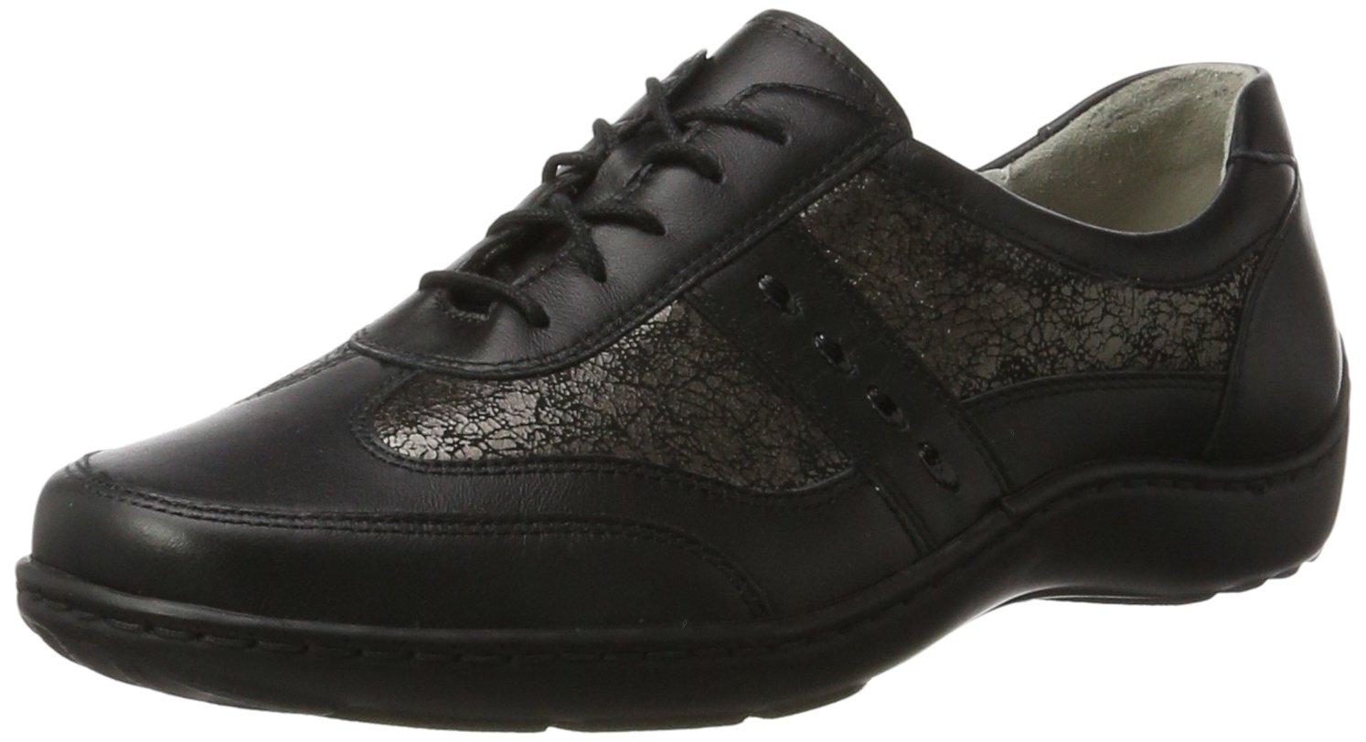 Waldläufer Henni 496000 Ama244 001 - Zapatos casual de cuero para mujer 41 EU|Mehrfarbig (Memphis Shine Taipei Schwarz Anthhrazit Sw)