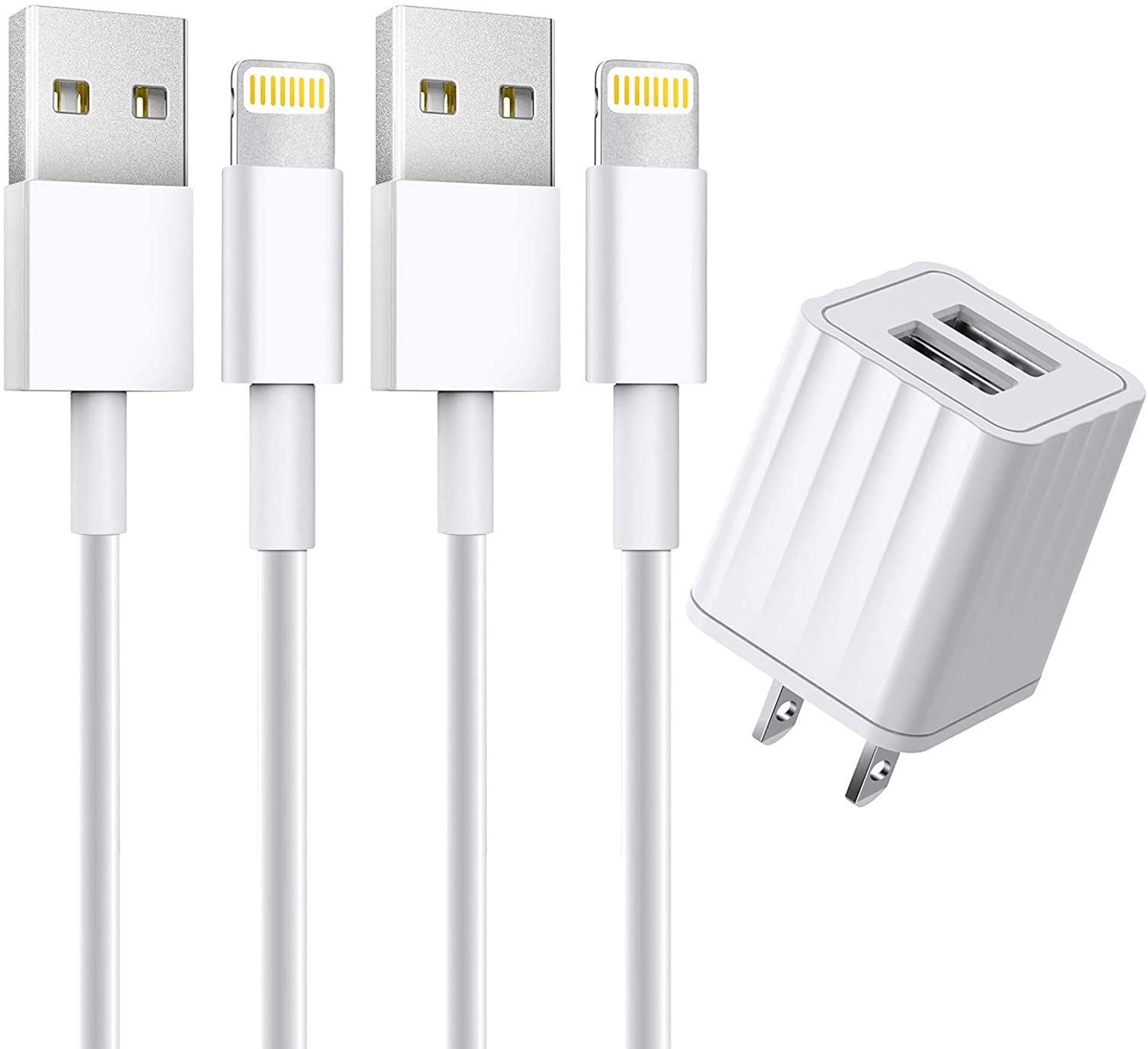 [Apple MFi Certified] iPhone Charger, 2 Pack 6FT Lightning Cable Fast Charging Data Sync Transfer Cord with Dual Port USB Wall Charger(UL Listed)Plug Compatible with iPhone 12/12 Pro/11/XS/XR/X/8/iPad