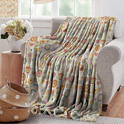 Xaviera Doherty Travel Blanket Kids,Cute Flowers Singing Birds Soft, Fuzzy, Cozy, Lightweight Blankets 50