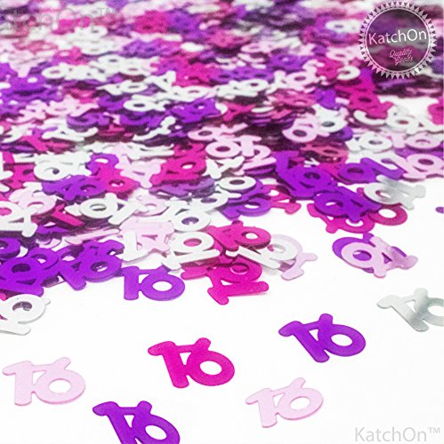 KATCHON 16th Birthday and Anniversary Confetti - 1.5 Oz - Sweet 16 Party Supplies | Beautiful Table Decorations for 16th Birthday Party Supplies | 4 Colors | Pink - Hot Pink - Fuchsia - Silver ()