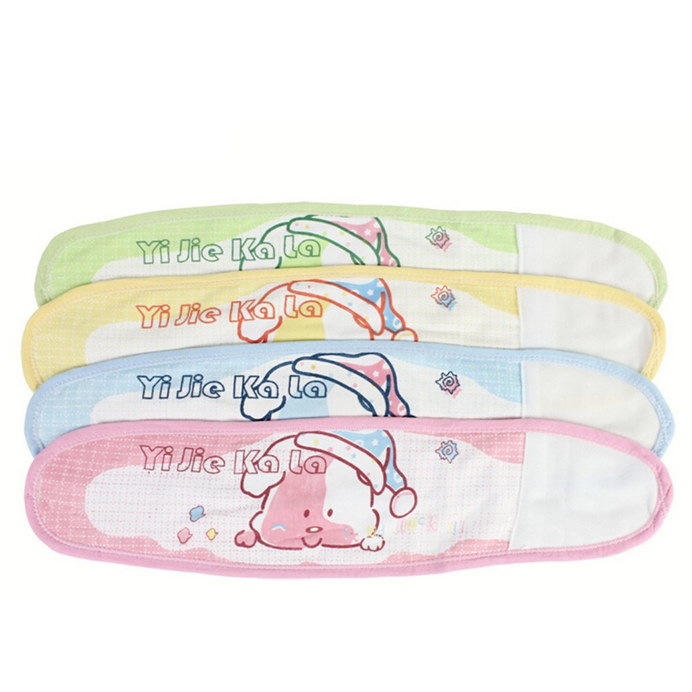 Liitrton 4 PCS Cartoon Pattern Cotton Baby Infant Umbilical Cord Belly Band for 0-12 months Random Color