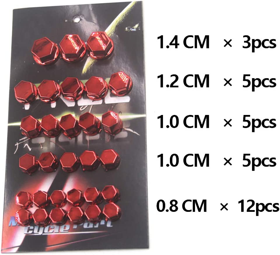 Red YOSIYO KUEUNBU 30PCS//Set Bolts Toppers Caps Motorcycle Motorbike Hex Socket Screw Nut Bolt Cap Cover Decoration