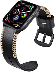 Kartice Compatible with Apple Watch Series 6 Band and Apple Watch SE Bands, 38mm 40mm Leather Handmade Vintage Bands for iWatch Series 5 4 3 2 1 Bands (Black 40mm/38mm)
