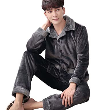 ff49ec9d3d moxin Mens Soft Warm Flannel Comfortable Cotton Long Bathrobe Dressing Gown  Loungewear Robe Dark Gray